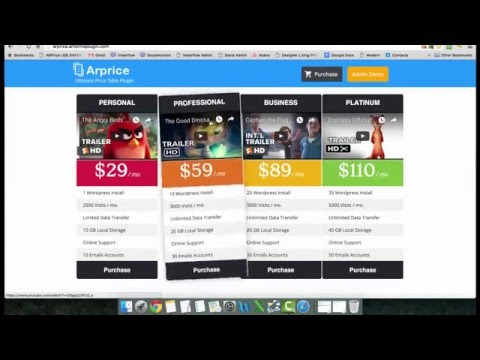 ARPrice responsive pricing table demo